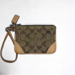 Coach jacquard tan canvas wristlet